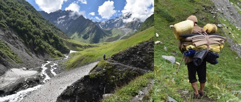 מימין: רועה צאן בן הגדי ועדרו, משמאל: הדרך לעבר מאנימהש קילאש. צילום: דניאל זוהר (28/8/19)